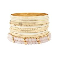Gold Coated, Textured & Beaded Bangles - 12 Pack by Charlotte Russe