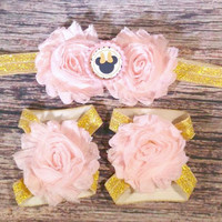 Pink and Gold Minnie Headband and Barefoot Sandals / Baby Headband / Baby Barefoot Sandals / Toddler Headband / Pink and Gold / Baby Bows