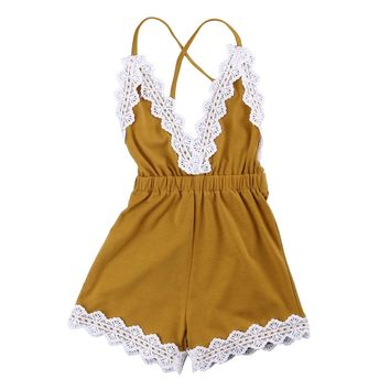 Baby Girls Infant Lace Sleeveless Romper V-Neck Backless Jumpsuit Clothes Outfit Sunsuit Set