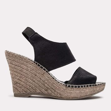 Reese Brushed Suede Espadrille Sandal (Black Metallic )