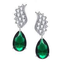 Green Teardrop and Clear Round Cubic Zirconia Earrings