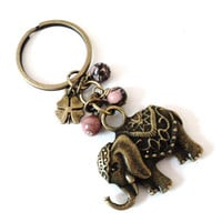 Sacred Elephant Keychain Bag Charm Yoga Accessories Pink Good Luck Party Favors Love Gifts For Her Christmas Stocking Stufffer Under 20