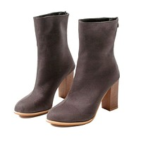 Zip Thick Heel Ankle Boots