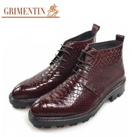 Fashion Men Boots Genuine Leather Brown Male Dress Ankle Boots For Men