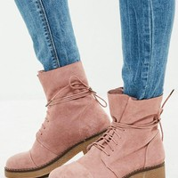 Missguided - Pink Faux Suede Ankle Boots