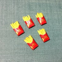 5 Miniature French Fries Potato Chips Packets Packs Polymer Clay Fast Food Snacks Carton Packet Cute Tiny Dollhouse Supplies Jewelry Beads