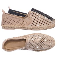Movie Espadrille Slip On Flats w Rhinestone -  Round Toe Cutout Loafer Shoes