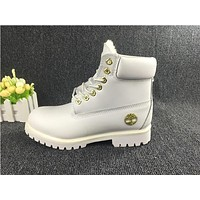 Timberland Fashion Classic With Fur Upper Leather White