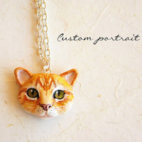 Custom Cat Necklace or Brooch, Portrait of your pet