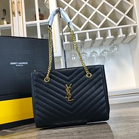 YSL SAINT LAURENT WOMEN'S LEATHER CHAIN SHOULDER BAG SHOPPING BAG