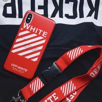Red Rugged Off-White Case + Lanyard