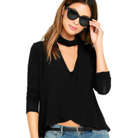 women-sexy-turtle-neck-cutout-at-bust-crop-top-ladies-t-shirt-mock-neck-dip-hem-long-sleeve-tops-clothes BBL