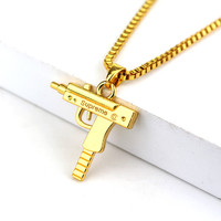 24kt Gold Plated Supreme UZI Pendant w/ 65cm Long Chain Silver and Gun Metal Options