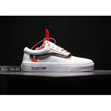 Vans X OFF White Old Skool Popular Canvas Flat Sport Shoe Sneakers White I-MLDWX