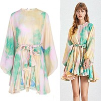 2020 new women's fashion print loose pullover lace pleated dress