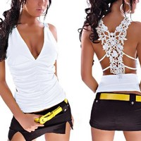 Blooms - Sexy Women Stunning Lace Back Ruched Halter Clubwear Top (White)