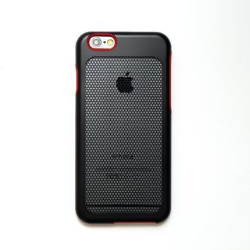 iPhone 6 Case, sevenmilli MESH Red(P) Black Hexa dual layer stainless PC case for iPhone 6 (4.7-inch) - Retail Packaging (I6SP-202)