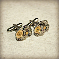 Steampunk Cuff Links - Industrial with Vintage Watch Parts and Gears, Gift for Him, One of a Kind