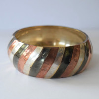 Chunky Metal Bangle Bracelet, Painted Striped Silver, Copper, Gunmetal // Shabby Chic Rustic Boho Style Tribal Belly Dance Costume Jewelry