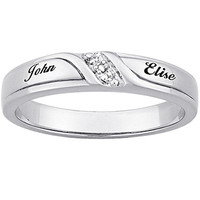 Diamond Accent Couple's Name Band in Platinum-Plated Sterling Silver (2 Names)