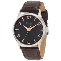 Caravelle 43A105 Men's Grey Dial Brown Leather Strap Dress Watch