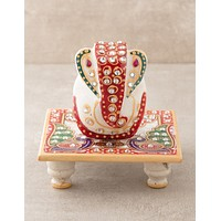 Mini White Marble Ganesh Statue with Marble Base