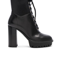 Gianvito Rossi Leather & Eco Stretch Martis Platform Ankle Boots in Black | FWRD