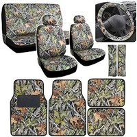 BDK Camo Gray Forest Car Seat Cover and Floor Mat Set - Front Rear Headrests, 4 Floor Mats - Universal Fit