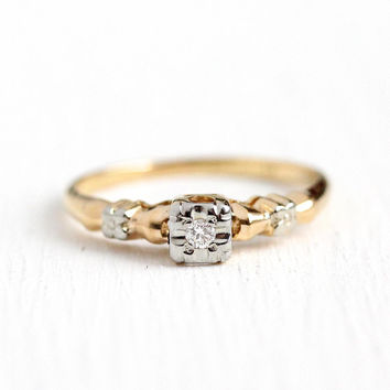 Vintage Diamond Ring - 14k - 18k Rosy Yellow & White Gold .04 CT Diamond Engagement - Size 6 3/4 Art Deco 1940s Wedding Flower Fine Jewelry