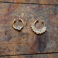 Faux Septum Piercing Diamond Rhinestone, Gold Clip On Septum Ring