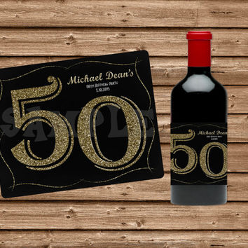 Custom Wine Bottle Labels - Champagne Bottle Labels - 40th Birthday - 50th Birthday - 60th Birthday - Adult Party Favors - Glitter Milestone
