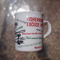 Fisherman's Excuse Coffee Mug, Fishermans Gift, Father's Day Gift