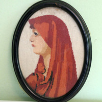 Cross Stitch Picture, Woman Picture,Lady Embroidered Picture, Shabby Chic Decor