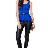 Piping Sleeveless Peplum