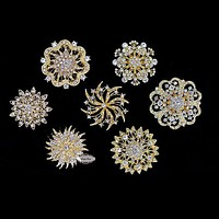 14 pcs Gold Rhinestone Brooch Set