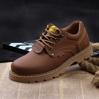 Winter Spring Autumn Men Ankle Boots Genuine Leather shoes men Casual Lace Up hiking Work Men traveling shoes