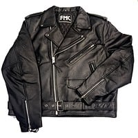FMC First Manufacturing Co. 'Superstar' Black Leather Racing Biker Jacket