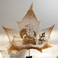 Free shipping unique leaf engraving art of Santa Claus for Christmas gift and home decor