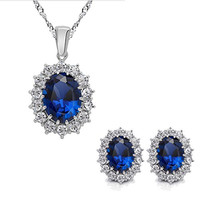 Mother's Day Gift Blue Crystal Zircon Pendant Necklace Earrings Jewelry Set Wedding Party Bride Mom Princess Necklace, Arrive with a Gift Box