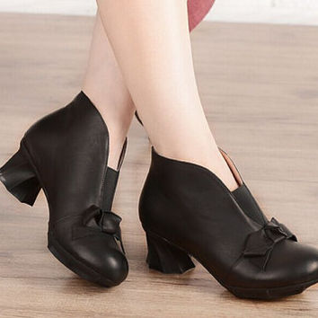 2 Colors Women's Handmade Leather short Boot Mori girl Boots.,Ankle Boots, Retro Pumps, Casual Boot, Black/Red Boots