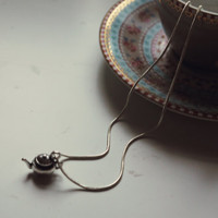 Small Metal Teapot Charm Necklace