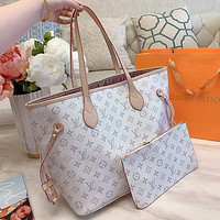 LV Louis Vuitton Bag High quality Women Shopping Leather Tote Handbag Shoulder Bag Purse Wallet Set Two-Piece