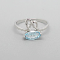 Rabbit Blue Topaz Sliver Ring, 925 Topaz Ring, November Birthstone, Birthdays gift, Wedding present, Special Occasions