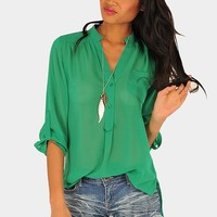 Necessary Clothing - Mira Blouse - Kelly Green