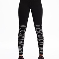 Go-Dry Mid-Rise Textured-Print Compression Tights for Women | Old Navy