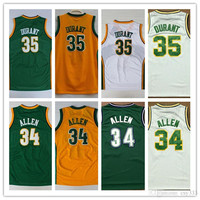 Free Shipping High Quality Jersey All Seattle Supersonics 34#Ray Allen Jerseys, 35# Kevin Durant White Green Basketball Jersey