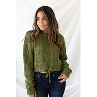 New Fascination Cropped Sweater - Olive