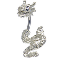 Clear Cubic Zirconia DETAILED DRAGON Belly Ring | Body Candy Body Jewelry