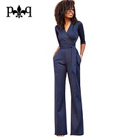 New Women Jumpsuits Rompers 2017 New Fashion Playsuits Lace Hollow Out V-Neck Sashes Women Slim Jumpsuit Overalls For Women