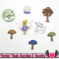 Jesse James Buttons 8pc MYTHICAL & MAGICAL Mushrooms, Fairy, Unicorn, Crystal Ball Buttons